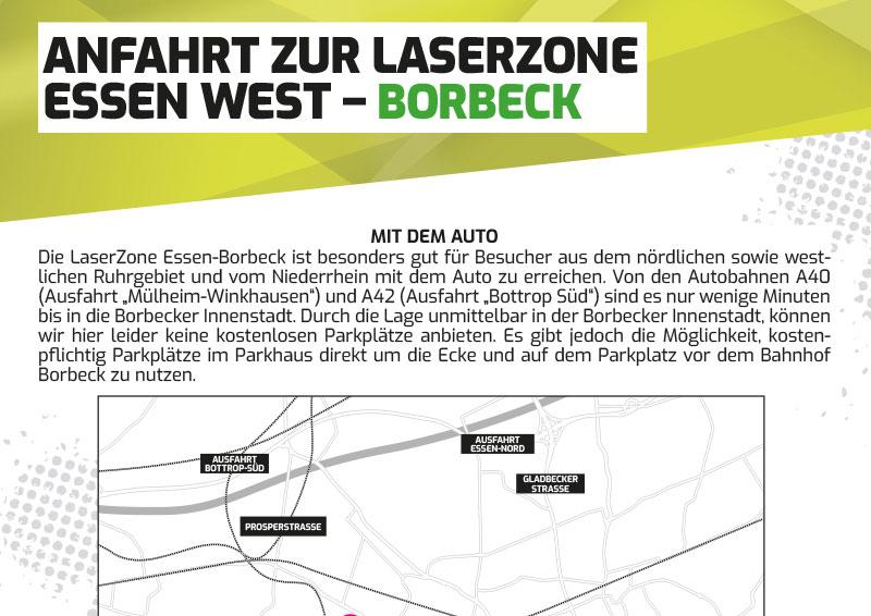 Anfahrtbeschreibung Lasertag Laserzone Essen Borbeck