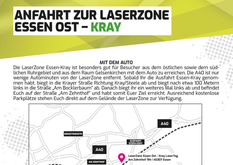 Anfahrtbeschreibung Lasertag Laserzone Essen Kray