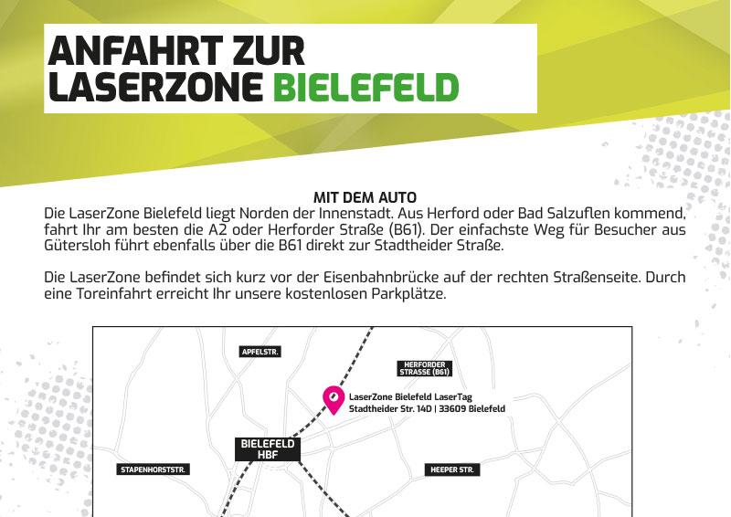 Anfahrtbeschreibung Lasertag Laserzone Bielefeld