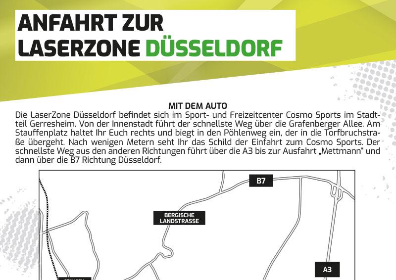 Anfahrtbeschreibung Lasertag Laserzone Düsseldorf