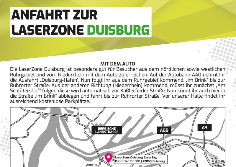 Anfahrtbeschreibung Lasertag Laserzone Duisburg