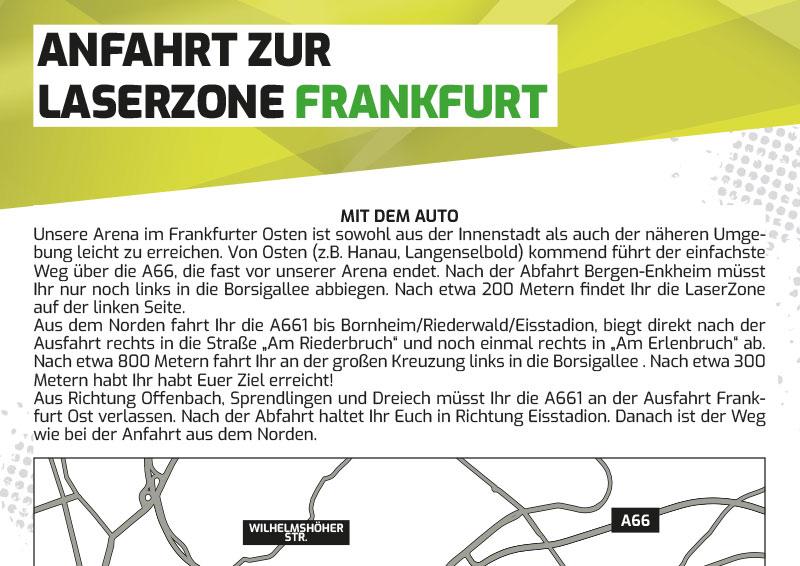 Anfahrtbeschreibung Lasertag Laserzone Frankfurt