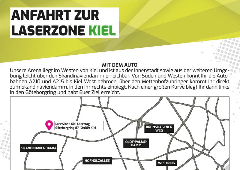 Anfahrtbeschreibung Lasertag Laserzone Kiel