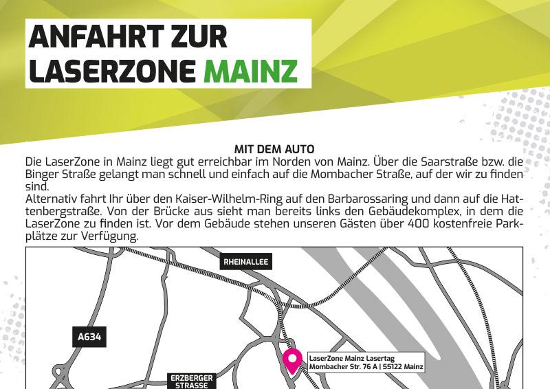 Anfahrtbeschreibung Lasertag Laserzone Mainz