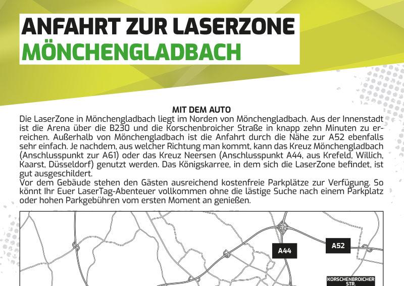 Anfahrtbeschreibung Lasertag Laserzone Mönchengladbach