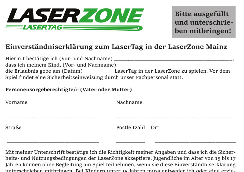 Einverständniserklärung Lasertag Mainz