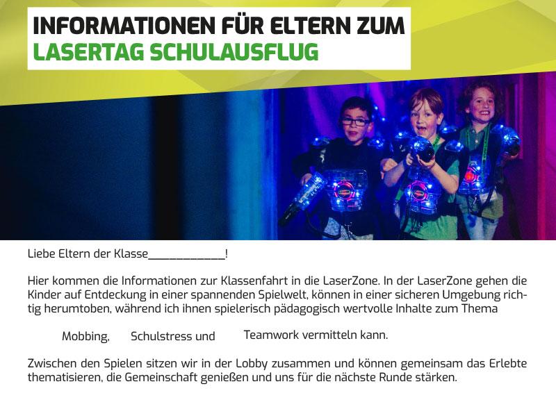 Lasertag Schulausflug Elternbrief und Antwortvorlage