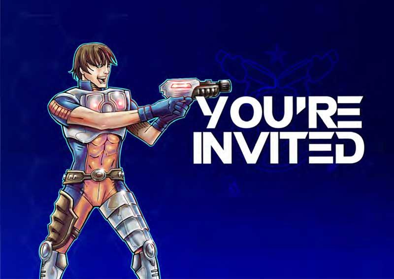 Lasertag Einladungskarte Blau