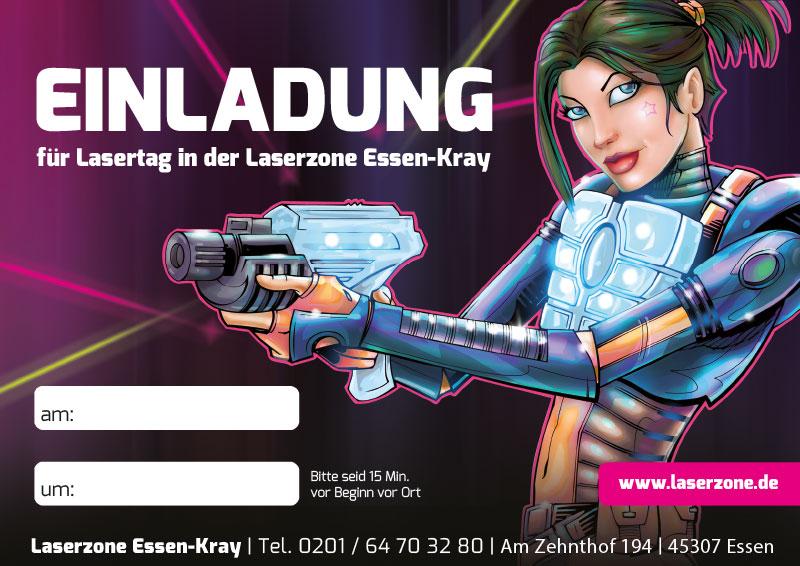 Laserzone Essen-Kray Lasertag Kindergeburtstag Einladung 01