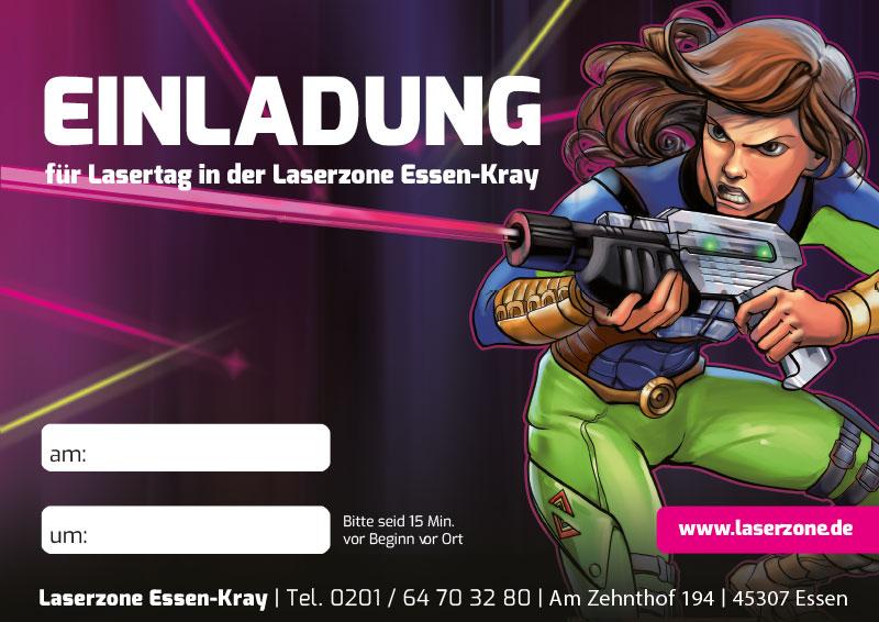 Laserzone Essen-Kray Lasertag Kindergeburtstag Einladung 02